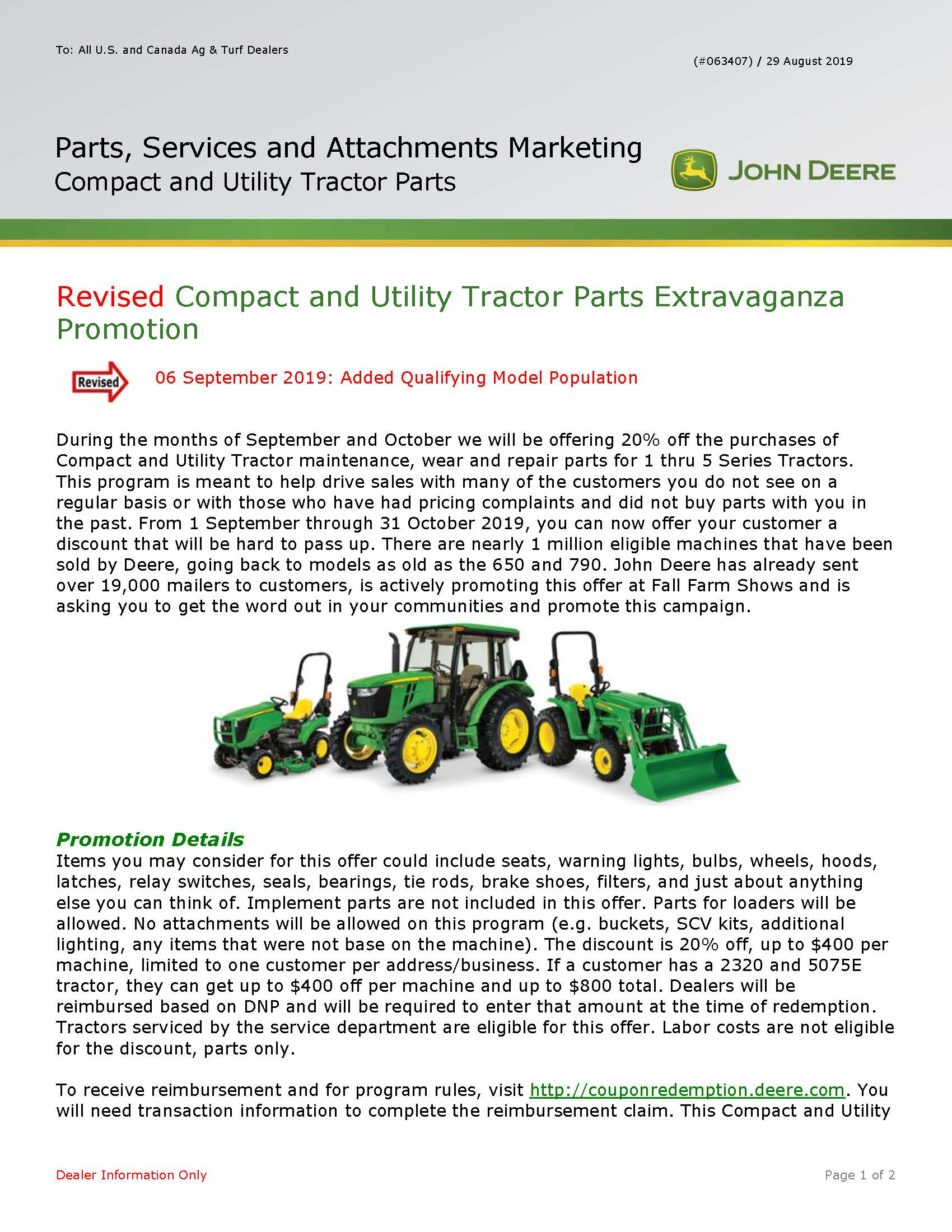 Details on Special Pricing of Compact utility tractor parts